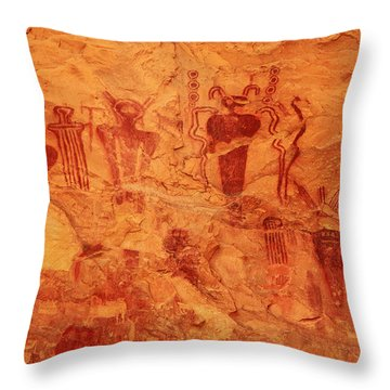 Sego Canyon Rock Art Throw Pillow by Alan Vance Ley