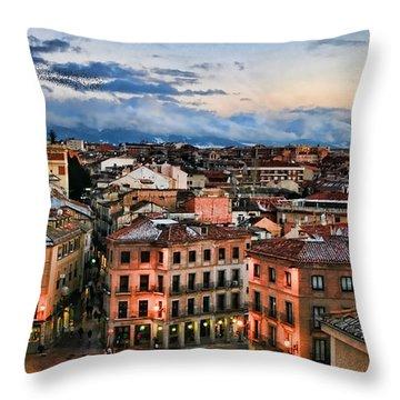Segovia Nights In Spain By Diana Sainz Throw Pillow