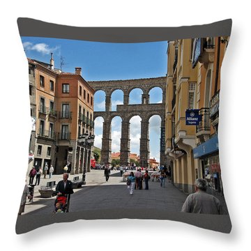 Segovia Spain Throw Pillow by Farol Tomson