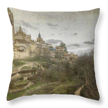 Segovia View Throw Pillow by Joan Carroll
