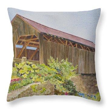 Seguin Covered Bridge In Charlotte Vermont Throw Pillow by Mary Ellen Mueller Legault
