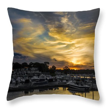 Selective Color Sunset - Mystic River Throw Pillow