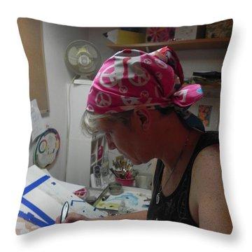 Self Portrait  2012 Throw Pillow by Chrisann Ellis