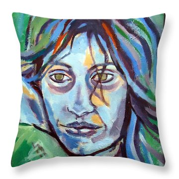 Throw Pillow featuring the painting Self Portrait by Helena Wierzbicki
