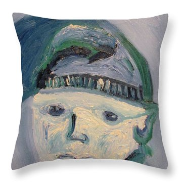Self Portrait In Blue And Green Throw Pillow
