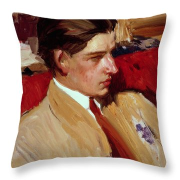 Self Portrait In Profile Throw Pillow by Joaquin Sorolla y Bastida