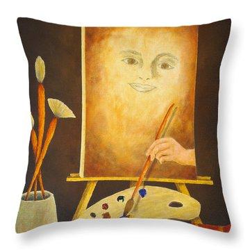 Self-portrait In Progress Throw Pillow by Pamela Allegretto