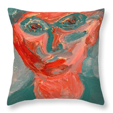 Self Portrait In Turquoise And Rose Throw Pillow