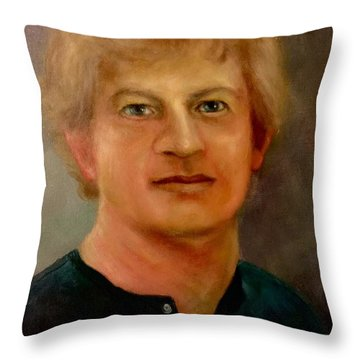 Throw Pillow featuring the painting Self Portrait by Randol Burns