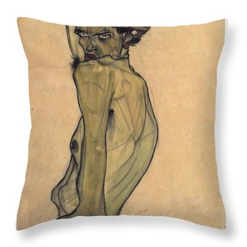 Throw Pillow featuring the painting Self-portrait With Arm Twisted Above Head by Egon Schiele