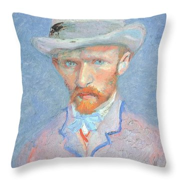 Self-portrait With Gray Felt Hat Throw Pillow by Vincent van Gogh
