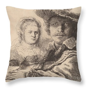 Self Portrait With Saskia Throw Pillow by Rembrandt