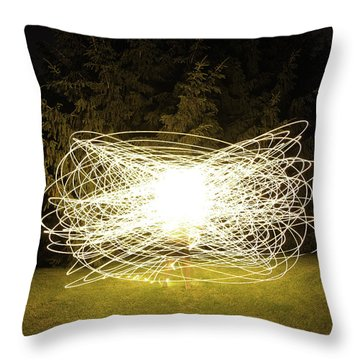 Self Portrait Within Light Swirls 2012 Throw Pillow by Joseph Duba
