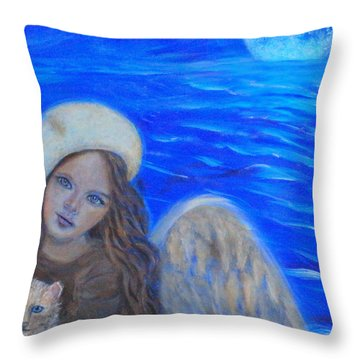 Selina Little Angel Of The Moon Throw Pillow by The Art With A Heart By Charlotte Phillips