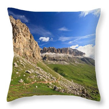 Throw Pillow featuring the photograph Sella Mountain And Pordoi Pass by Antonio Scarpi