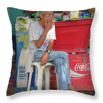 Selling His Wares Throw Pillow