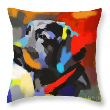 Throw Pillow featuring the painting Dog Sem by Go Van Kampen