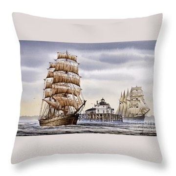Semi-ah-moo Lighthouse Throw Pillow by James Williamson