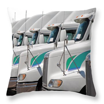 Throw Pillow featuring the photograph Semi Truck Fleet by Gunter Nezhoda