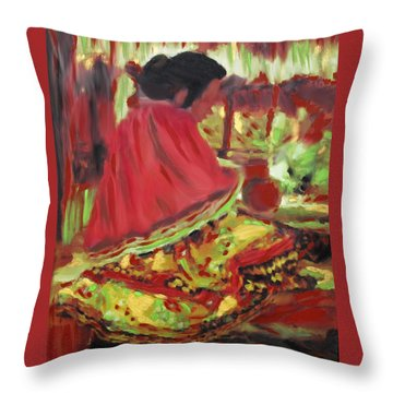 Throw Pillow featuring the painting Seminole Indian At Work by Deborah Boyd