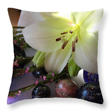 Throw Pillow featuring the photograph Send The Light Lily With Marbles by Bonnie Willis