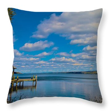Seneca Lake At Glenora Point Throw Pillow