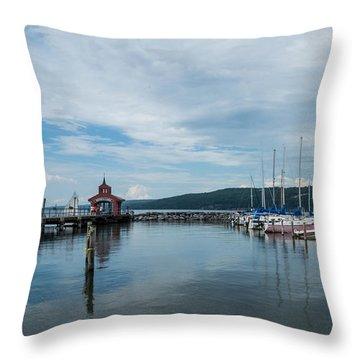 Seneca Lake Harbor - Watkins Glen - Wide Angle Throw Pillow