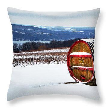 Seneca Lake Winery In Winter Throw Pillow