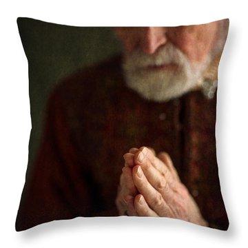 Senior Historical Man In Prayer Throw Pillow by Lee Avison