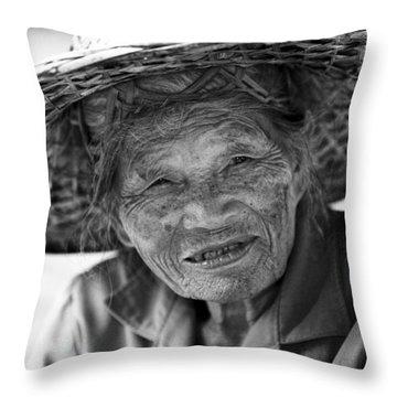 Senior Vendor Thai Woman Throw Pillow