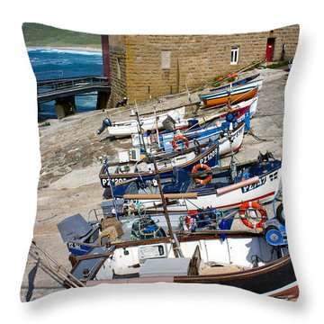 Sennen Cove Fishing Fleet Throw Pillow by Terri Waters
