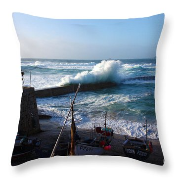 Sennen Cove Harbour Cornwall Throw Pillow by Terri Waters