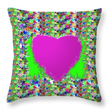 Throw Pillow featuring the photograph Sensual Pink Heart N Star Studded Background by Navin Joshi