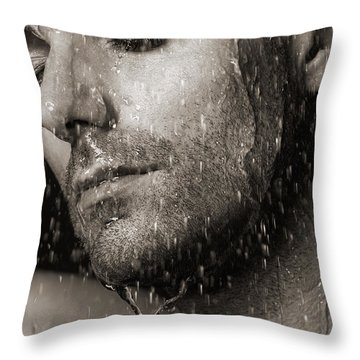 Sensual Portrait Of Man Face Under Pouring Water Black And White Throw Pillow by Oleksiy Maksymenko