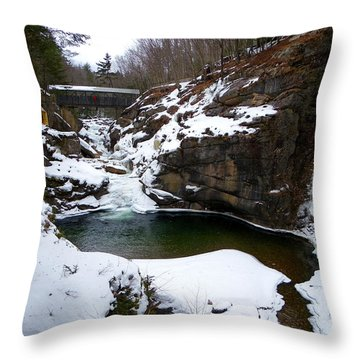 Sentinel Pine Bridge In Winter Throw Pillow