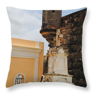 Sentinel Tower Over Graves Throw Pillow