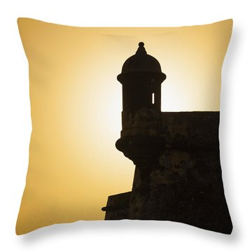 Throw Pillow featuring the photograph Sentry Box At Sunset At El Morro Fortress In Old San Juan by Bryan Mullennix
