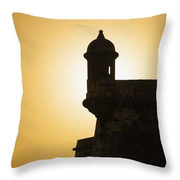 Sentry Box At Sunset At El Morro Fortress In Old San Juan Throw Pillow