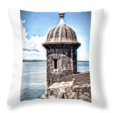 Sentry Box In El Morro Hdr Throw Pillow