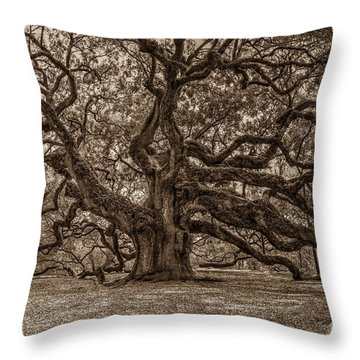 Sepia Angel Oak Throw Pillow