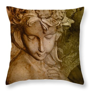 Sepia Angel Throw Pillow by WB Johnston