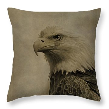 Sepia Bald Eagle Portrait Throw Pillow by Dan Sproul