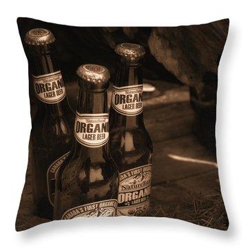 Throw Pillow featuring the photograph Sepia Bottles by Rachel Mirror
