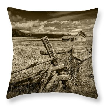 Sepia Colored Photo Of A Wood Fence By The John Moulton Farm Throw Pillow