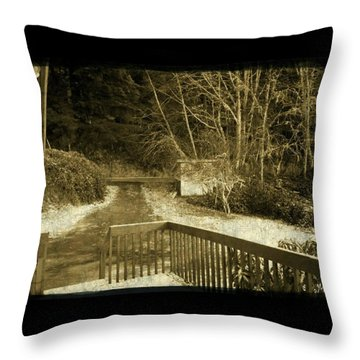 Throw Pillow featuring the photograph Sepia - Country Road First Snow by Absinthe Art By Michelle LeAnn Scott