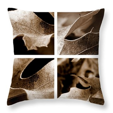 Throw Pillow featuring the photograph Sepia Leaf Collage by Lauren Radke