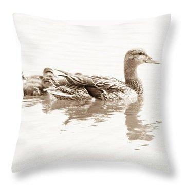 Throw Pillow featuring the photograph Sepia Mallard Family by Anita Oakley
