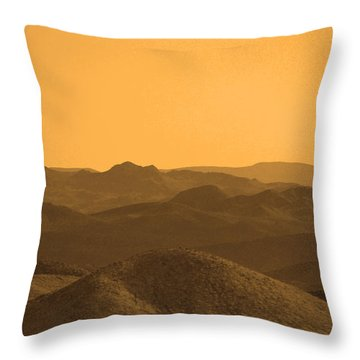 Sepia Mountains Throw Pillow