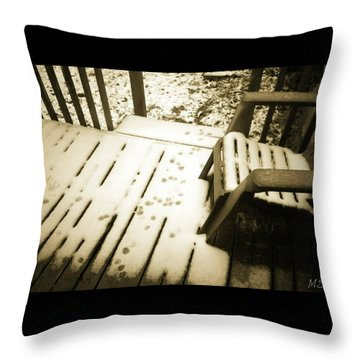 Sepia - Nature Paws In The Snow Throw Pillow by Absinthe Art By Michelle LeAnn Scott