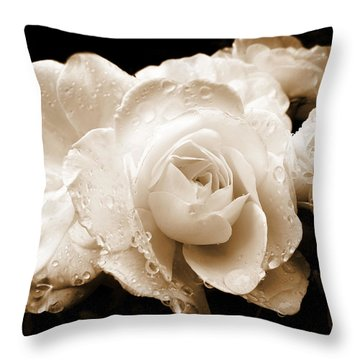 Sepia Roses With Rain Drops Throw Pillow